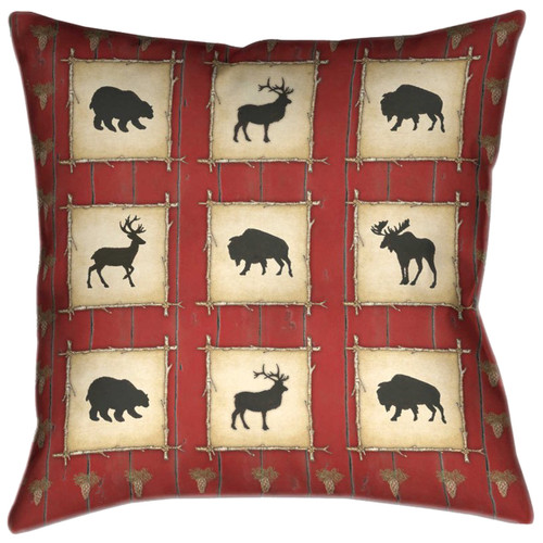 Lodge Wildlife Patches Pillow