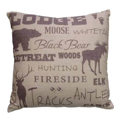 Lodge Words Print Accent Pillow
