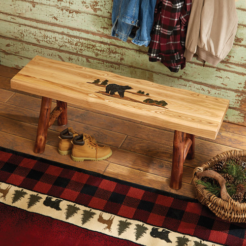 Log Bench with Bear Carving Designs