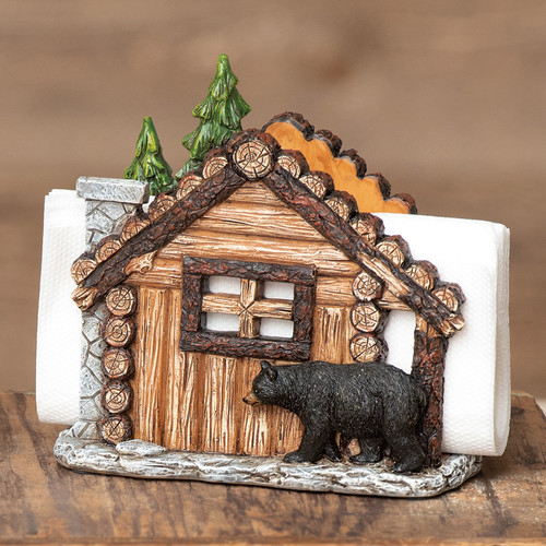 Log Cabin Bear Napkin Holder