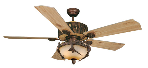 Log Cabin Ceiling Fan with Pinecone Inverted Light