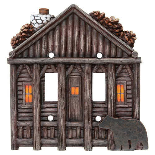 Log Cabin Double Switch Plate