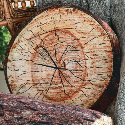 Log Tree Slice Round Pillow