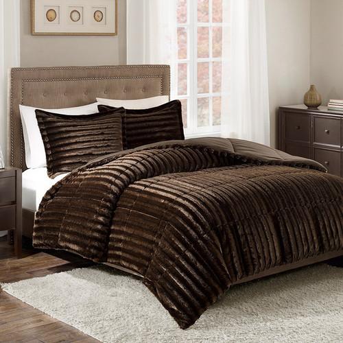 Logan Chocolate Faux Fur Comforter Set - Queen
