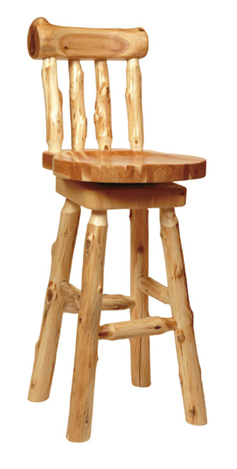 Log Barstool with Back - 30 Inch