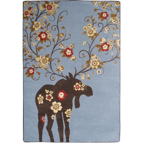 Moose Blossom Blue Rug Collection