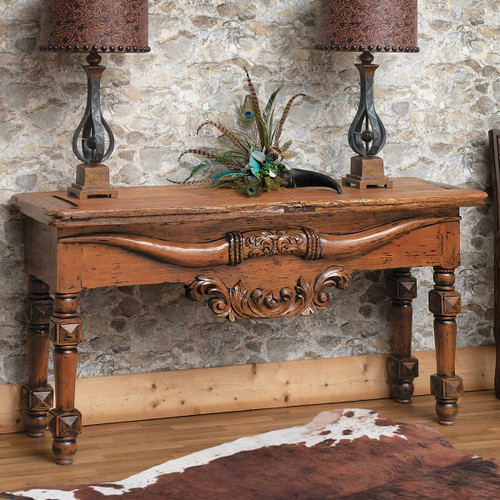 Longhorn Carved Console Table