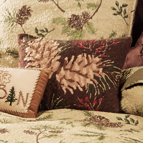 Lookout Mountain Pinecone Hooked Pillow