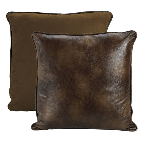 Rustic Brown Faux Leather Euro Sham