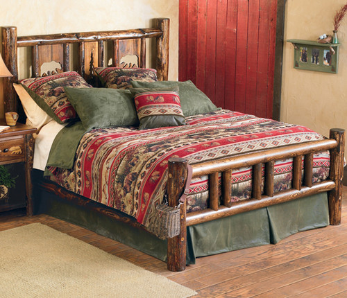 Blue Spruce Log Bear Bed