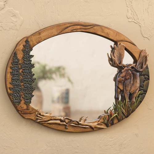 Majestic Moose Carved Wood Wall Mirror