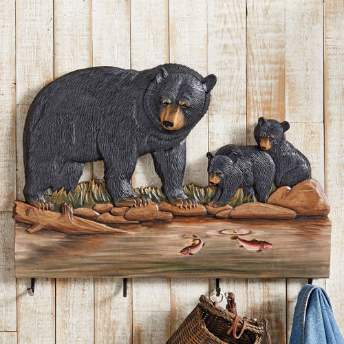 Mama Bear & Cubs Carved Wood Coat Rack