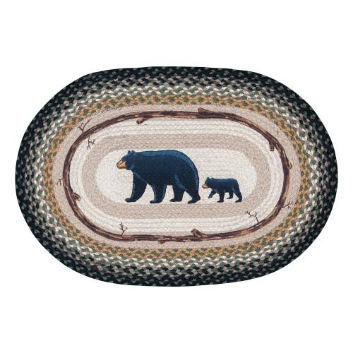 Mama Black Bear & Cub Braided Oval Rug