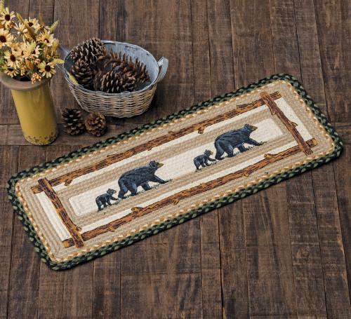 Mama Black Bear & Cub Braided Table Runner