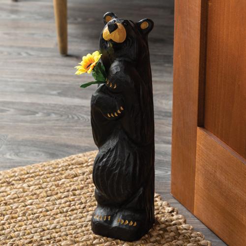 Meadow Flower Black Bear Figurine