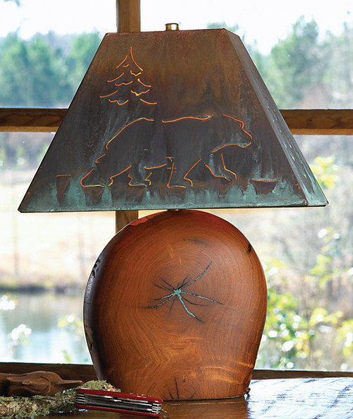 Mesquite Lamp w/ Copper Bear Shade - 20 Inch