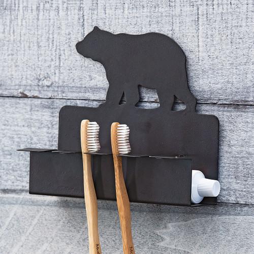 Metal Bear Toothbrush/Toothpaste Holder