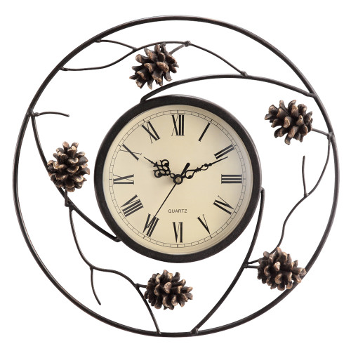 Metal Pinecone Wall Clock - OUT OF STOCK UNTIL 8/13/2021