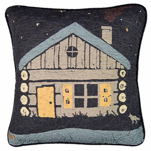 Midnight Cabin Square Pillow