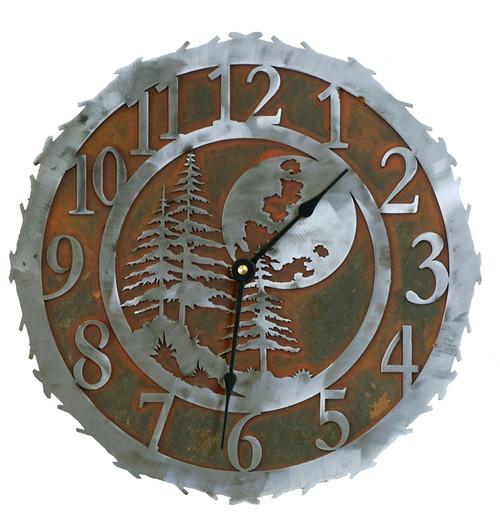 Midnight Moon Metal Art Clock - 12 Inch