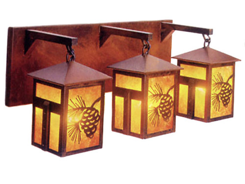 Mission Pine Cone Vanity w/ Amber Mica Shade - Rust