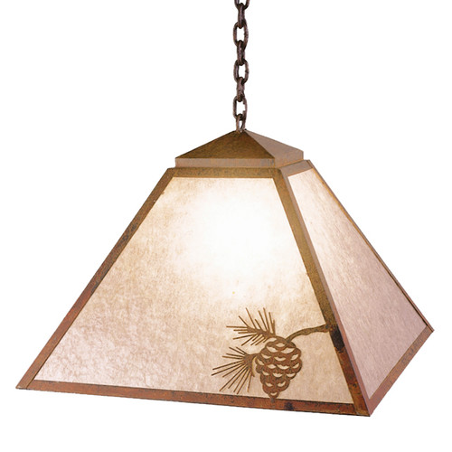 Mission Swag Light with Pinecone Metal Art