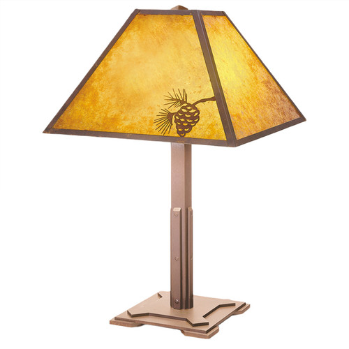 Mission Table Lamp with Pinecone Metal Art