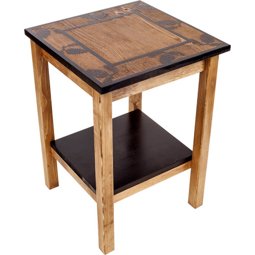 Missoula End Table with Pinecone Border