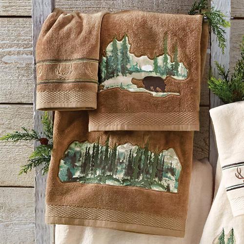 Misty Morning Bear Towel Set - Mocha