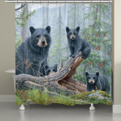 Misty Mountain Bear & Cubs Shower Curtain