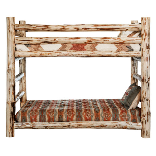 Lacquer Finish Hand-Peeled Rustic Log Bunk Bed - Twin