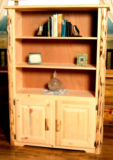 Unfinished Hand-Peeled Rustic Bookcase
