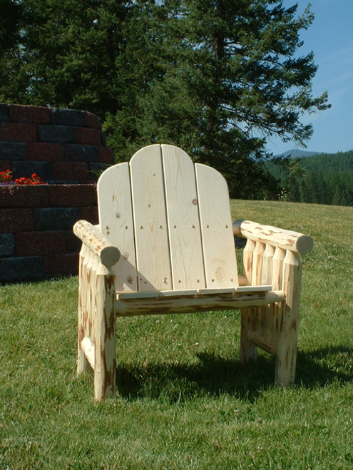 Unfinished Hand-Peeled Rustic Log Deck Chair