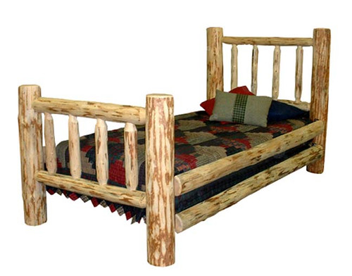 Lacquer Finish Hand-Peeled Rustic Log Full Bed