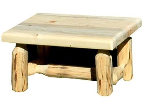 Unfinished Hand-Peeled Rustic Log Footstool