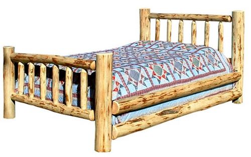 Lacquer Finish Hand-Peeled Rustic King Bed