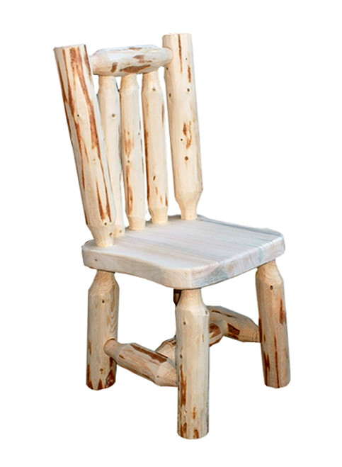 Unfinished Hand-Peeled Child's Log Chair