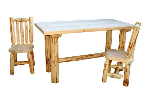 Unfinished Hand-Peeled Rustic Child's Table