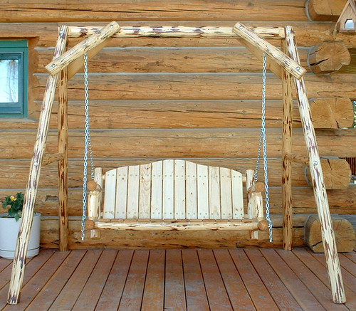 Unfinished Hand-Peeled Rustic Log Swing with A Frame