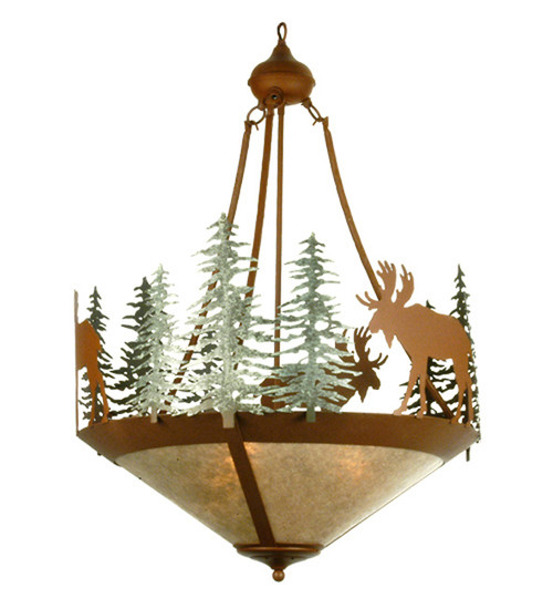 24 Inch Moose/Trees Inverted Chandelier