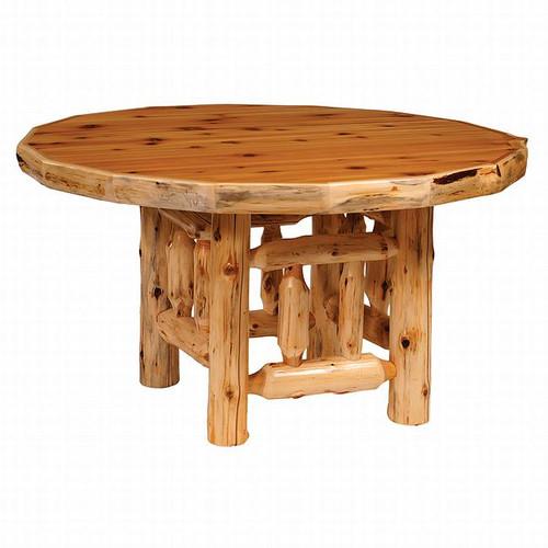 Cedar Log Standard Finish Round Dining Table