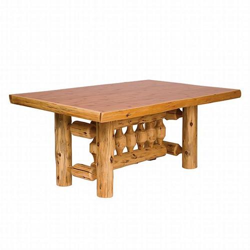 Cedar Log Standard Finish Rectangle Dining Table
