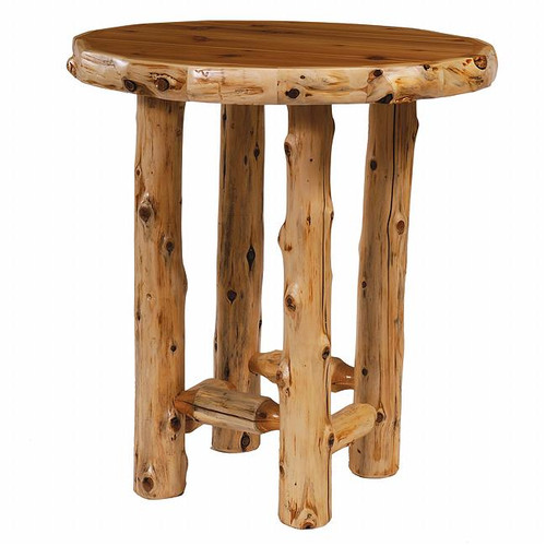 Cedar Log Standard Finish Round Pub Table