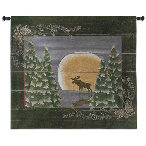 Moonlight Moose Large Wall Tapestry
