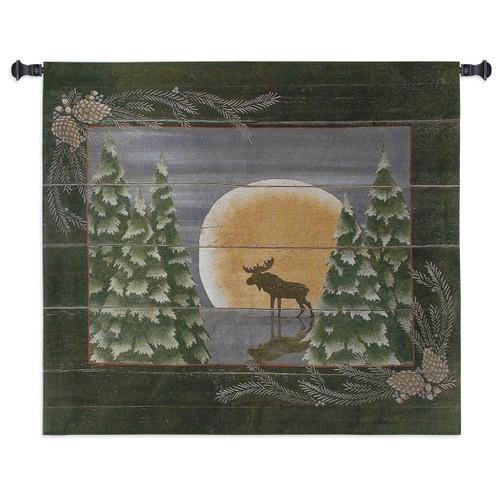 Moonlight Moose Small Wall Tapestry