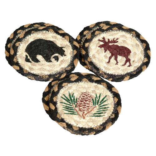 Moose, Bear & Pinecone Braided Coasters (Set of 6)