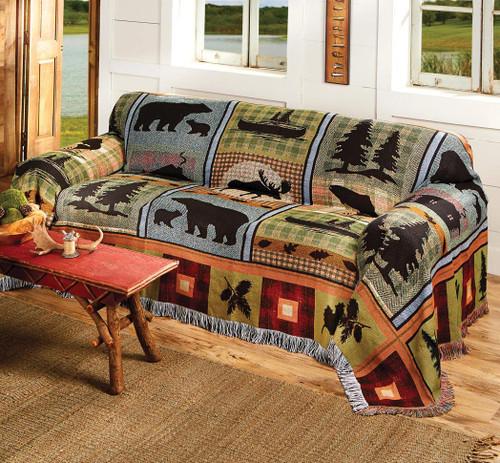 Moose & Bear Lake Tapestry Sofa Cover