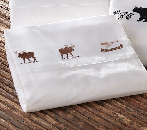 Moose and Canoe Embroidered Sheet Set - Full