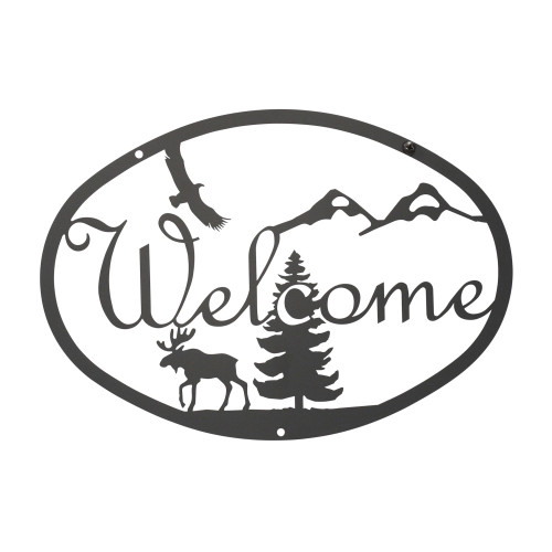 Moose & Eagle Welcome Sign