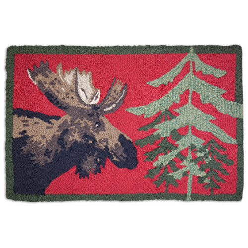 Moose & Pine Tree Hooked Wool Accent Rug - 2 x 3